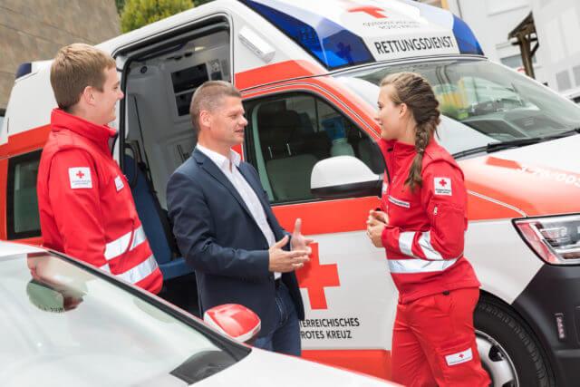 Im Gespräch beim Roten Kreuz
